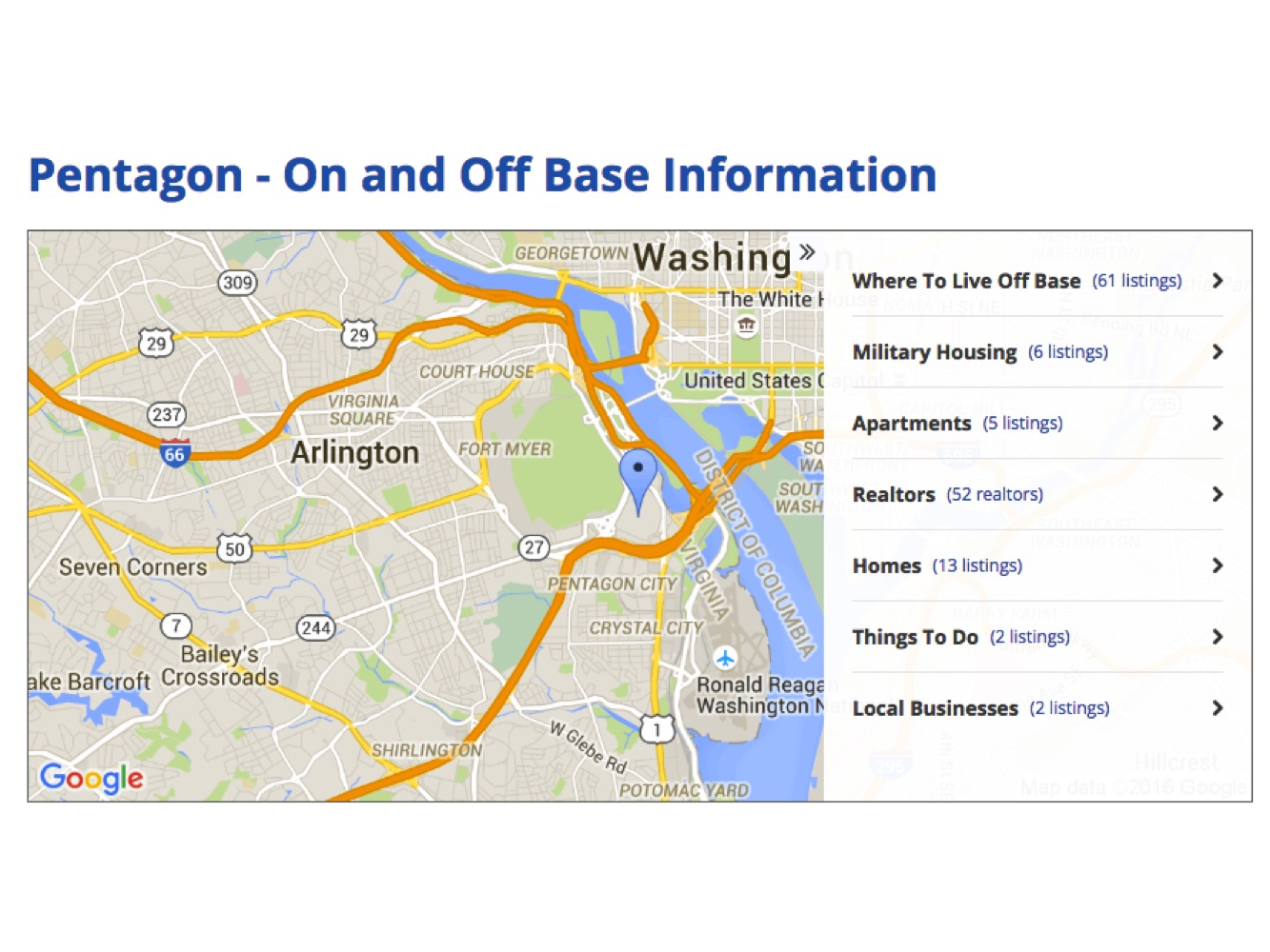 Pentagon On and Off Base information