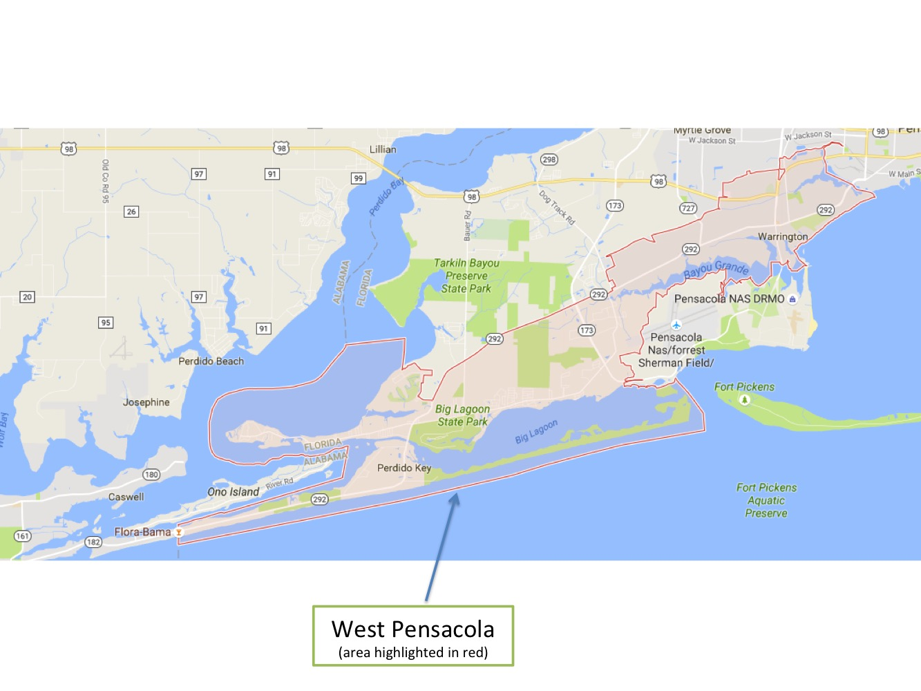 Areas Of West Pensacola Military Town Advisor - Us zip code in florida