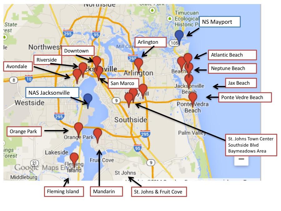 Jax Fl Zip Code Map.Jacksonville Mayport Pcs Guide Pcs Guides Military Town Advisor