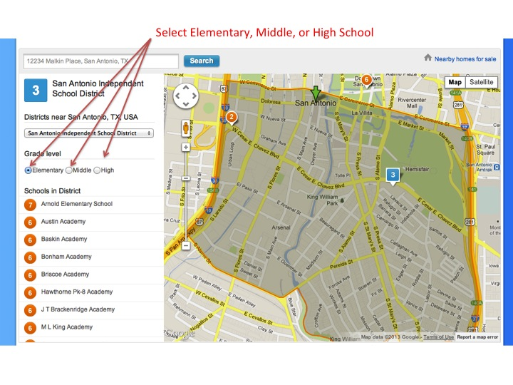 GreatSchools School and Boundary Map