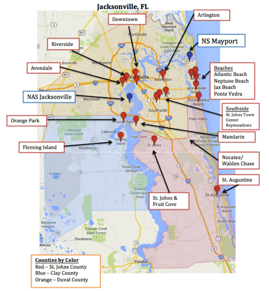 Map of jacksonville mayport florida military town advisor for Best places to live in florida for families
