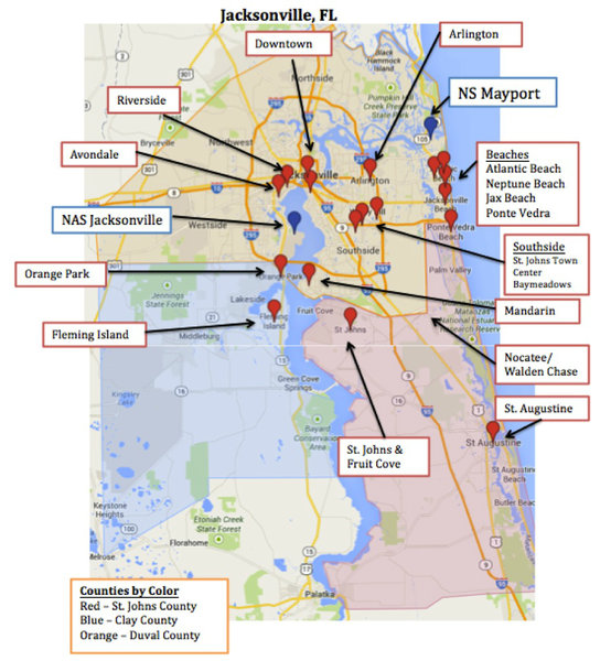 Map Of Jacksonville Amp Mayport Florida Military Town Advisor